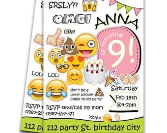 Emoji Geburtstagseinladung, Tweens Geburtstag Einladen, Teen Geburtstag  Einladen, Mädchen Teen Einladung, Emoji