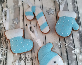 Set of 4 Felt Christmas 'cookie' decorations, stocking, snowman, candy cane and mitten