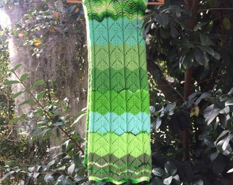 Knit Afghan Throw Blanket **FREE SHIPPING**