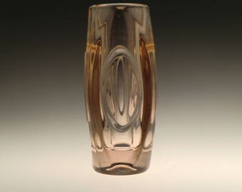 Czech Bohemian Sklo Union Art Glass Rosaline Color Vase by Rudolf Schrotter