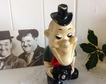 Vintage Stan Laurel Figurine Stan with Camera Art Deco Style Rare