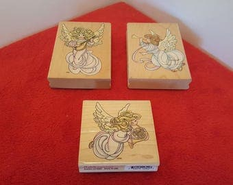 Set of 3 stampendous angel stamps, angelic stamp set, rubber stamps