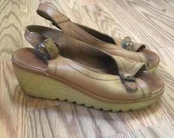 VTG 70's CHEROKEE Brown Leather Strappy PLATFORM Wedge Heels Peep Toe 5