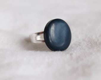 Blue Iridescent Button Adjustable Ring