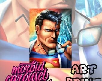 Superman - Dc Comics Portrait A4 Giclee Art Print