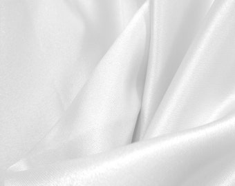 "JN00065 Sale Item Bridal White 90 Dull Matte Satin Peau de Soie Soft Silky Smooth Drape Quality High Fashion Decor 58/60"" Fabric By The Yard"