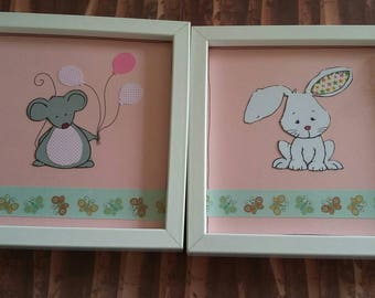 Nursery pictures, picture frames , handmade, new baby gift, baby girl,baby's room, decorated frame, mouse, rabbits ,animal frames, nursery