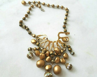 Vintage Statement Necklace, Mid-Century, Beads, Gold