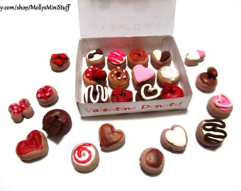 AFTER VALENTINE'S SALE! Handmade polymer clay assortment of Valentine donuts dollhouse miniature food