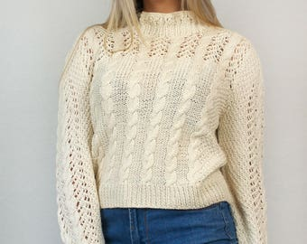 Vintage 80s Ivory Crochet Cable Knit High Mock Neck Bishop Sleeve Pullover Light Spring Sweater