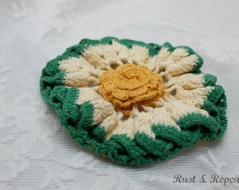 Vintage 1940s Hand Crochet Yellow Rose Pot Holder - Yellow, White and Green Potholder  - Rust and Repeat