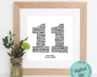 Personalised 11th ANNIVERSARY GIFT - Word Art - Printable Art - Unique Anniversary gift - 11th Wedding Anniversary Gift - Last Minute Gift