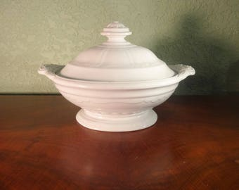 Antique WHITE IRONSTONE  Vegetable TUREEN, Scalloped Decagon,  c. 1854 Farmhouse Decor, Country Home