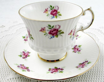 Elizabethan Tea Cup and Saucer with Small Pink Roses, Vintage Teacup and Saucer, English Bone China