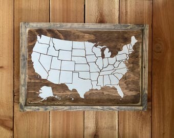 "USA Map With States - Framed USA Wood Sign Wall Art - 13.5"" x 19.5"""