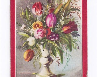 Swap Trading Card - 1930s - 1940s - Flowers in a Vase  - Playing Side is the Queen of Hearts.
