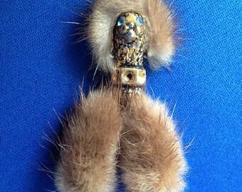 1950s Mink Poodle Brooch
