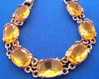 1950s Faceted Amber Glass Bracelet