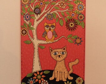 Original paint, acrylic paint mexican folk art painted treee colored cat and owl