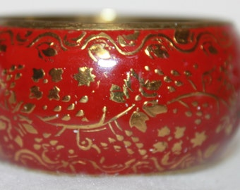 A2 Beautiful Large Bangle Bracelet Brass Enameled Floral Pattern Great Detail Work 1.5 Inch Wide Heart Cutouts Inside Unsure of Maker or Age