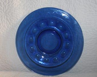 G2 Imperial Blue Tiara Indiana Glass Kings Crown Thumbprint Large 13 Inch Serving Platter Cobalt