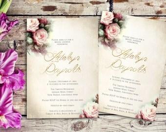 Watercolor bridal shower invitation printable - floral bridal shower invitation, gold bridal shower invitation, pink bridal shower