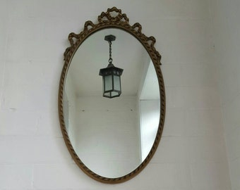 Ornate gold vintage oval mirror filigree ribbon design art deco arts and crafts style c1960's retro decorative piece original Peerart label