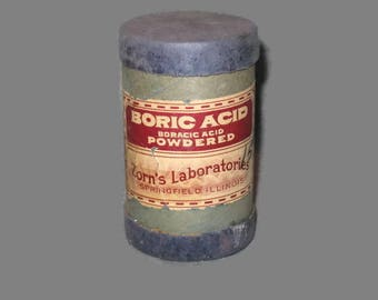 Boric Acid Container, Cardboard Container, Vintage Household, Vintage Collectible, Cardboard Canister, Collectible Vintage, Home Decor