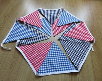 Large size gingham bunting. Village Fete bunting. Wedding bunting. Wizard of Oz.