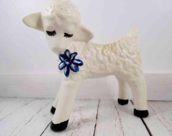 Vintage Lamb Planter,ceramic lamb,lamb figure,lamb figurine,kitsch lamb vase,planter,planter vase,succulent planter,mid century modern style