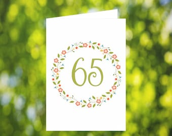 65th Birthday Card Download: Flower Wreath Birthday Card - Olive Green - Digital Download - Downloadable Card - Birthday Card for Her