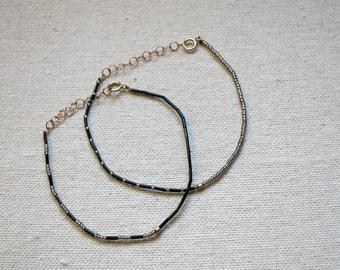 Friendship Bracelet / Layering Bracelet / Beaded Bracelet / Adjustable Bracelet / BFF Jewelry / BFF Bracelets // AMIGA Bracelet - Dark