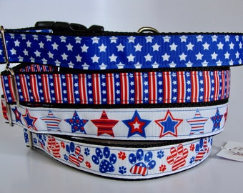 Patriotic Dog Collars- Stars, Stars & Stripes, Red White and Blue Stars, Patriotic Dog Paws - READY TO SHIP!