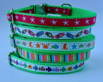 XS Dog Nautical Beach Vacation Dog Collar - Lime - Starfish, Flip Flop, Sea Life, Beach Stripe, Coral Reef Fish- Metal Buckle Ready to Ship!