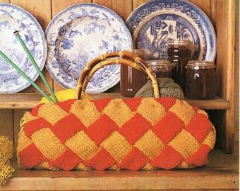 knitting bag knitting pattern pdf entrelac knitting bag with entrelac tutorial 46cm chunky bulky 12ply pdf instant download