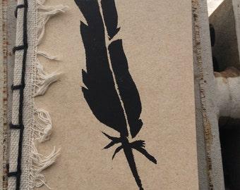 Black Feather Coptic Stitch Journal Notebook