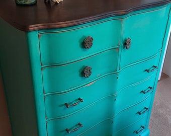 Serpentine Dresser - Painted in Green Patina