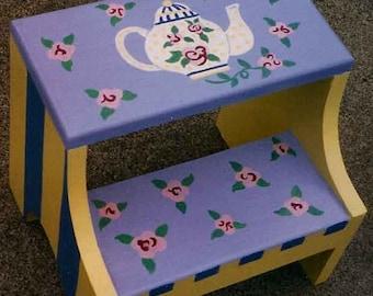 tea time step stool hand painted step stool childu0027s step stool & eloise step stool hand painted step stool childu0027s step islam-shia.org