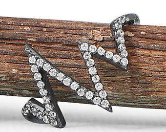 Black Ruthenium Plated CZ Heartbeat Design Pulse Ring, Modernist Design, US Sz 6