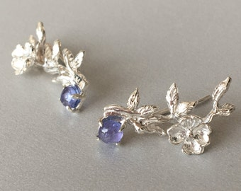 Tanzanite Earrings Tanzanite Ear Climber Earrings Sterling silver Cherry blossom ear climbers Sakura crawler earrings December Birthstone