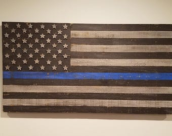 Rustic Wooden American Flag, Wooden Flag, American Flag, Rustic Flag, Flag, Thin Blue Line Flag, Thin Blue Line, Blue Line, Police