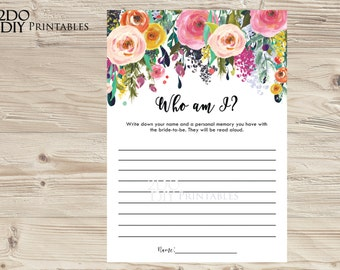 Floral Bridal Shower Game Who Am I/  Guess Game /  Memory Game / Colorful Flower Bridal Shower Games /SB-22/ Instant Download