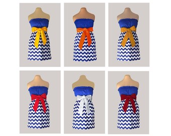 Pack of 6 Blue Chevron Dresses - Any Combination of Sash Colors