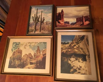 Set of 4 Vintage 1950's Southwestern Landscapes Framed