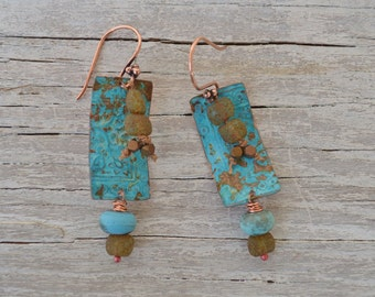 Blue copper patina earrings ORTTEC - DayLilyStudio