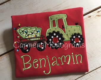 Boy's Appliqued Tractor with Appliqued Christmas Tree on Tshirt or Bodysuit