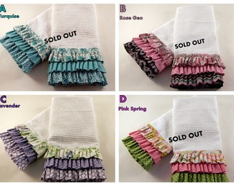Ruffled Kitchen Towels, Kitchen Decor, Kitchen Linens, Easter Kitchen towels, Valentine Kitchen towels, GREAT GIFT IDEA, Sold in pairs!