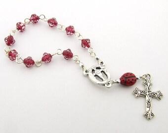 First Communion Mini Rosary - Handmade Red Ladybug One Decade Catholic Rosary Beads - Girl's Rosary - Catholic Gift - First Communion Gift