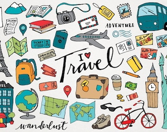 Travel Clipart - hand drawn illustrations, digital download, vacation clipart, wanderlust clip art, instant download, design resource