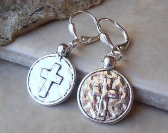 Cross Dangle Earrings.Hammered.Metal Earrings.Drop Earrings.Statement.Bridal.Bohemian.Religious.Spiritual.Confirmation.Christian.Handmade.